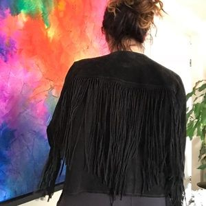 Forever 21 Jackets & Coats - Fringe Genuine Suede Jacket 3/4 Sleeve